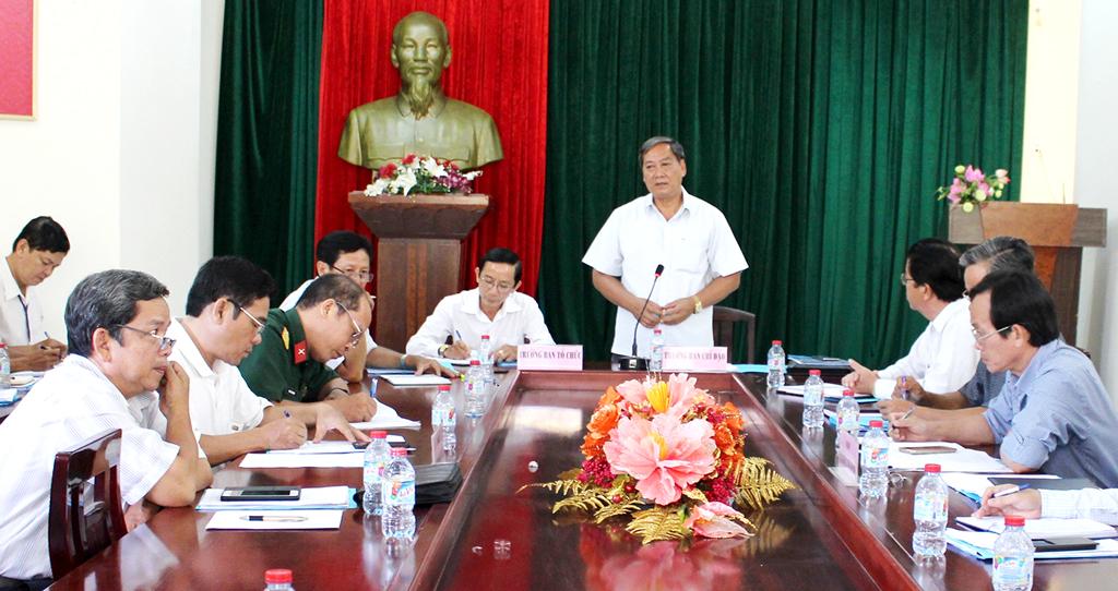 Ông Nguyễn Hữu Phước - Phó chủ tịch UBND tỉnh, Trưởng BCĐ ĐHTDTT tỉnh phát biểu tại cuộc họp. Ảnh: H. Đức
