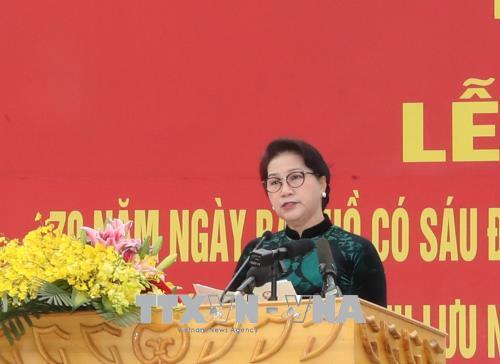Chủ tịch Quốc hội Nguyễn Thị Kim Ngân phát biểu tại Lễ kỷ niệm. Ảnh: Trọng Đức – TTXVN