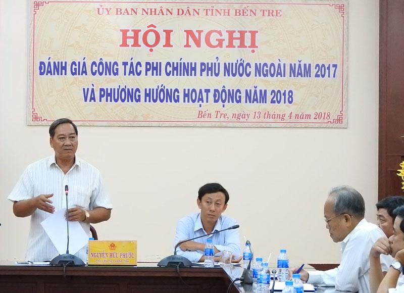 Phó chủ tịch UBND tỉnh Nguyễn Hữu Phước phát biểu tại hội nghị. Ảnh: Thanh Đồng