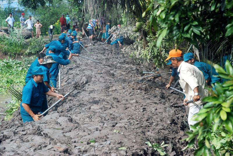 Lực lượng vũ trang tham gia khắc phục sạt lở đê tại cồn Phú Đa, xã Vĩnh Bình, huyện Chợ Lách. Ảnh: Đ.Thạch