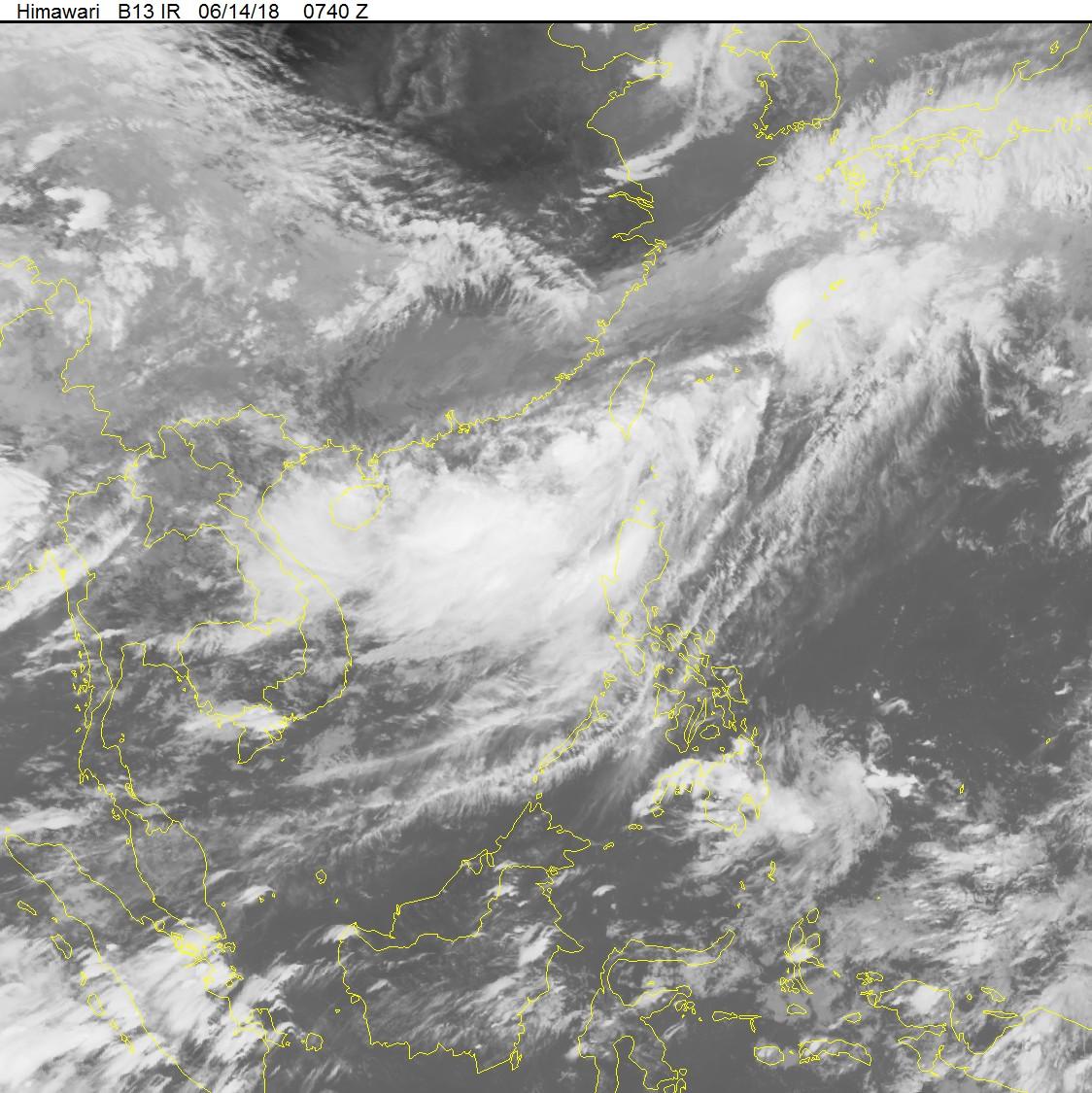 Ảnh mây vệ tinh áp thấp nhiệt đới. Nguồn: nchmf.gov.vn