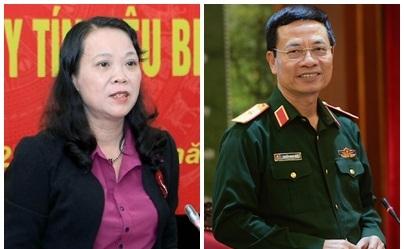 Thứ trưởng - Phó chủ nhiệm Ủy ban Dân tộc Hoàng Thị Hạnh và Chủ tịch kiêm Tổng Giám đốc Tập đoàn Công nghiệp - Viễn thông quân đội Nguyễn Mạnh Hùng