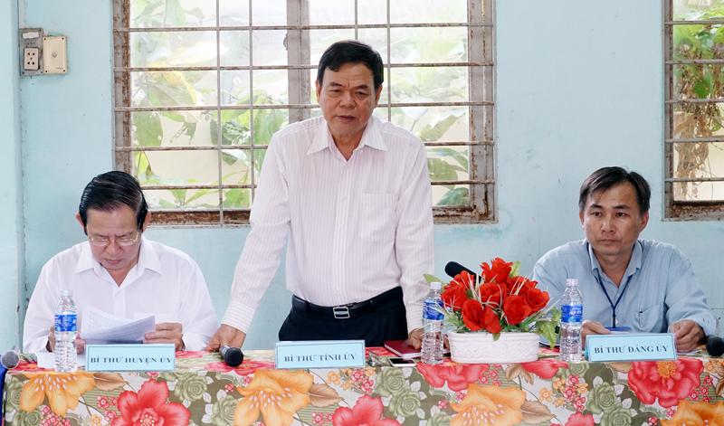 Bí thư Tỉnh ủy Võ Thành Hạo phát biểu tại buổi làm việc với Đảng ủy xã Thới Lai. Ảnh: Quốc Hùng
