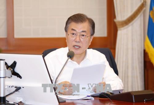 Tổng thống Hàn Quốc Moon Jae-in tại cuộc họp nội các ở Seoul ngày 3-7-2018. Ảnh: Yonhap/TTXVN