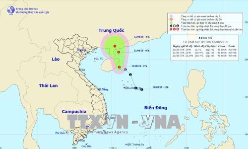 Bản đồ đường đi và vị trí của áp thấp nhiệt đới. Ảnh: TTXVN phát
