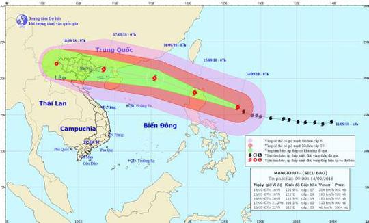 Hình ảnh đường đi của siêu bão Mangkhut - Ảnh: Trung tâm Dự báo khí tượng thuỷ văn quốc gia.