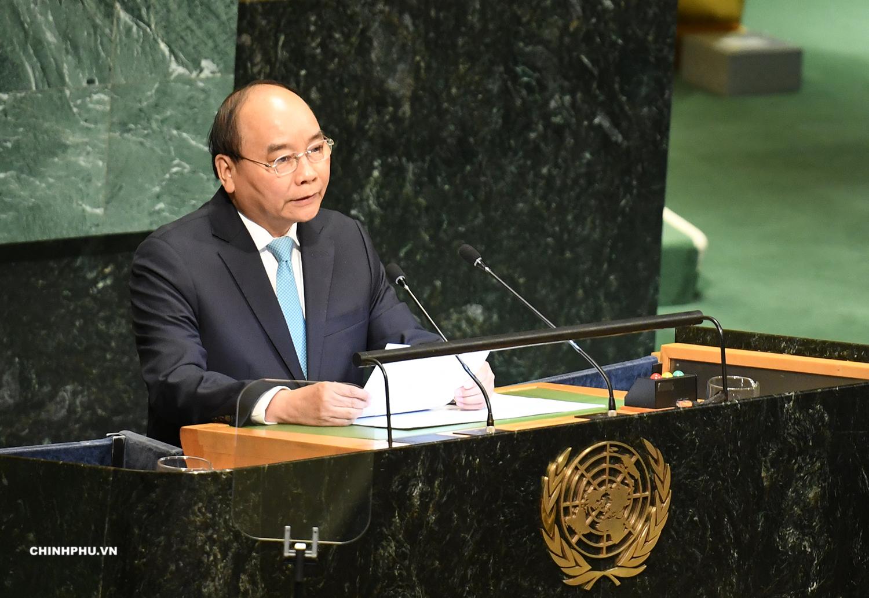 Thủ tướng Nguyễn Xuân Phúc phát biểu tại phiên thảo luận cấp cao Đại hội đồng LHQ. Ảnh: VGP/Quang Hiếu