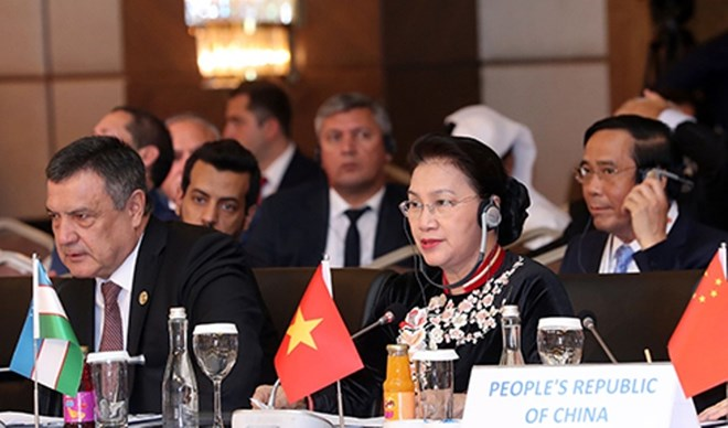 Chủ tịch Quốc hội Nguyễn Thị Kim Ngân tại Hội nghị Chủ tịch Quốc hội các nước Á Âu. Ảnh: Trọng Đức/TTXVN