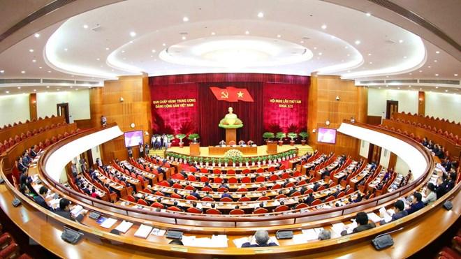 Quang cảnh Hội nghị lần thứ tám Ban Chấp hành Trung ương Đảng khoá XII. Nguồn: TTXVN