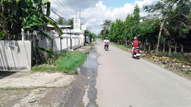 Một đoạn huyện lộ 173, xã Tam Phước, huyện Châu Thành bị đọng nước từ hồ nước thải tràn ra. Ảnh: PV