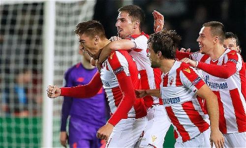 Chiến thắng trước Liverpool giúp Red Star mở ra cơ hội giành vé đi tiếp. Ảnh: AFP