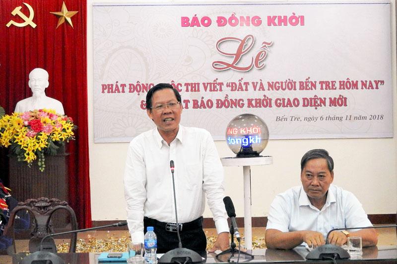 Phó bí thư Thường trực Tỉnh ủy Phan Văn Mãi phát biểu tại buổi lễ. Ảnh: H. Linh
