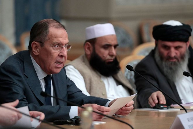 Ngoại trưởng Nga Sergei Lavrov phát biểu tại buổi hòa đàm. Nguồn: EPA-EFE