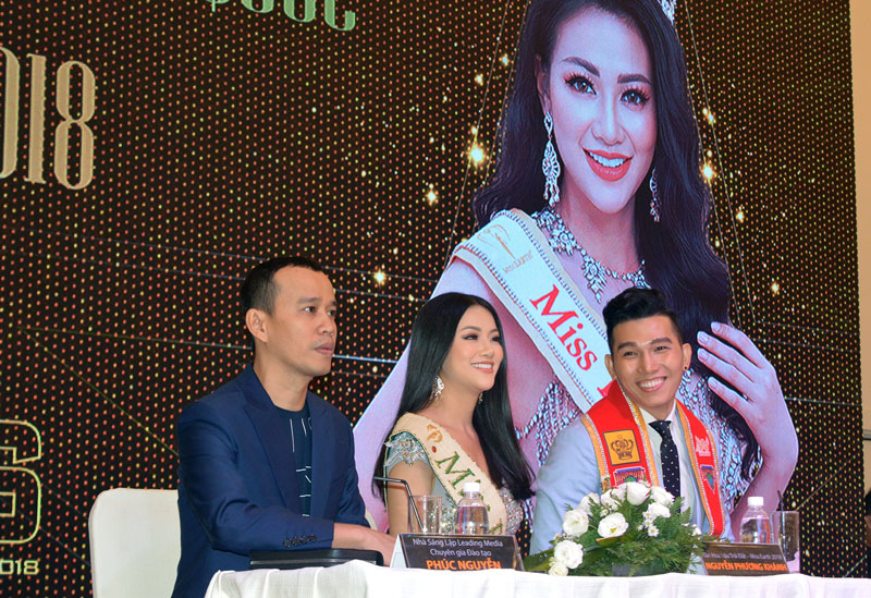 Hoa hậu Phương Khánh tại buổi họp báo. Ảnh: A. Nguyệt