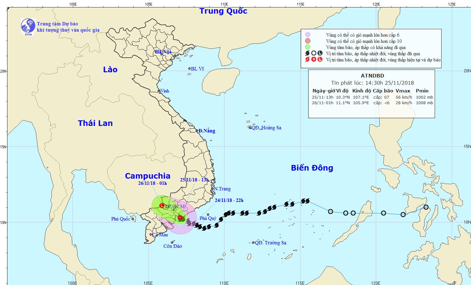 Đường đi và vị trí của áp thấp nhiệt đới.