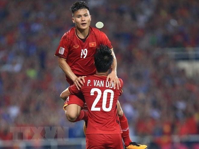 Quang Hải ghi bàn đưa Việt Nam thẳng tiến chung kết AFF Suzuki Cup 2018. Ảnh: Trọng Đạt/TTXVN
