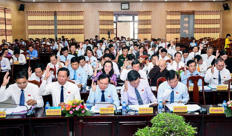 Các đại biểu biểu quyết thông qua Nghị quyết.