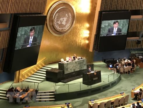 Đại sứ Đặng Đình Quý, Trưởng Phái đoàn thường trực Việt Nam tại Liên hợp quốc, tham dự và phát biểu tại một phiên họp của Liên hợp quốc.