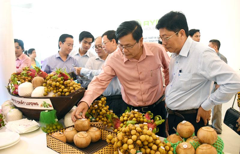 Phó chủ tịch UBND tỉnh Nguyễn Hữu Hập tham quan gian hàng trưng bày sản phẩm nông sản xuất khẩu. Ảnh: C. Trúc