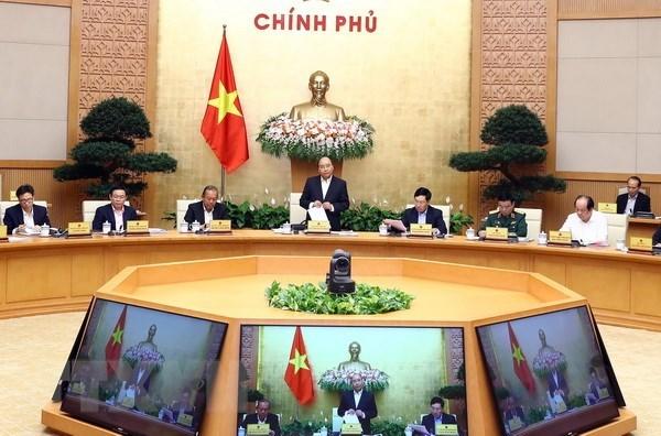 Thủ tướng Nguyễn Xuân Phúc phát biểu tại một phiên họp của Chính phủ. Ảnh: Thống Nhất/TTXVN