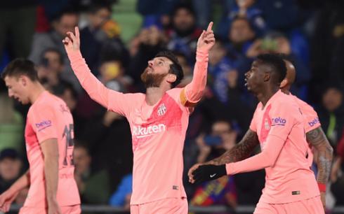 Messi tận dụng rất tốt cơ hội để mở tỉ số cho Barca. Ảnh: Gety