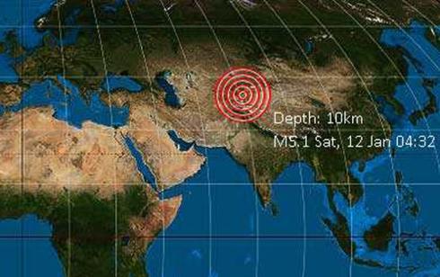Vị trí xảy ra trận động đất được thể hiện trên bản đồ. Ảnh: volcanodiscovery