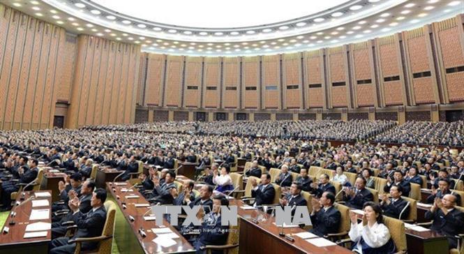 Toàn cảnh phiên họp Quốc hội Triều Tiên tại Bình Nhưỡng. Ảnh: Kfa Usa/TTXVN
