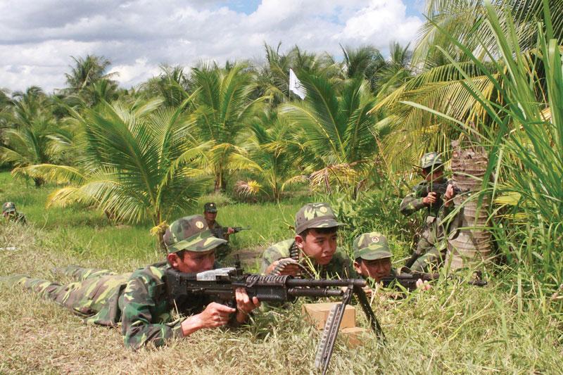 Thực binh đại đội 1, tiểu đoàn 516, trung đoàn BBKTT 895. Ảnh: Bùi linh