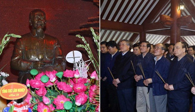 Thủ tướng Nguyễn Xuân Phúc cùng nhiều vị lãnh đạo, nguyên lãnh đạo Đảng, Nhà nước dâng hương, báo công lên Chủ tịch Hồ Chí Minh tại đền thờ Bác Hồ trên đỉnh Ba Vì, Hà Nội. Ảnh: Thống Nhất/TTXVN