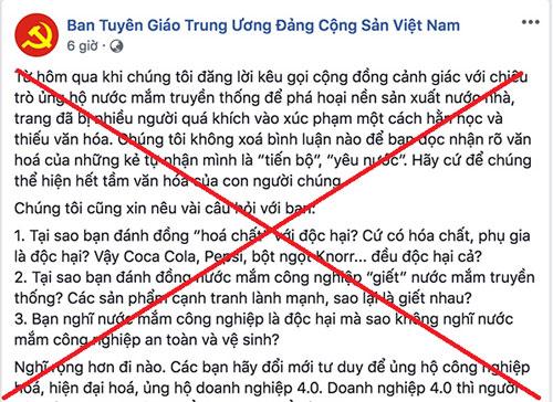 Bài viết gần đây nhất của trang Facebook mạo danh Ban Tuyên giáo Trung ương.