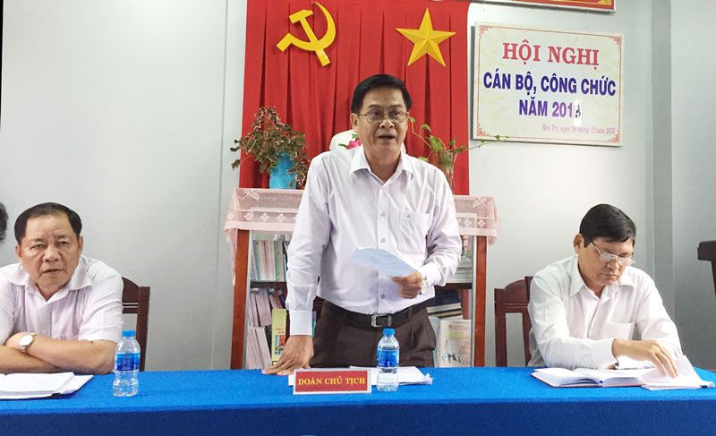 Trưởng ban Nội chính Tỉnh ủy Nguyễn Hải Châu chủ trì hội nghị cán bộ, công chức của đơn vị năm 2019. Ảnh: CTV