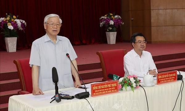 Tổng Bí thư, Chủ tịch nước Nguyễn Phú Trọng phát biểu kết luận buổi làm việc với lãnh đạo và cán bộ chủ chốt tỉnh Kiên Giang.