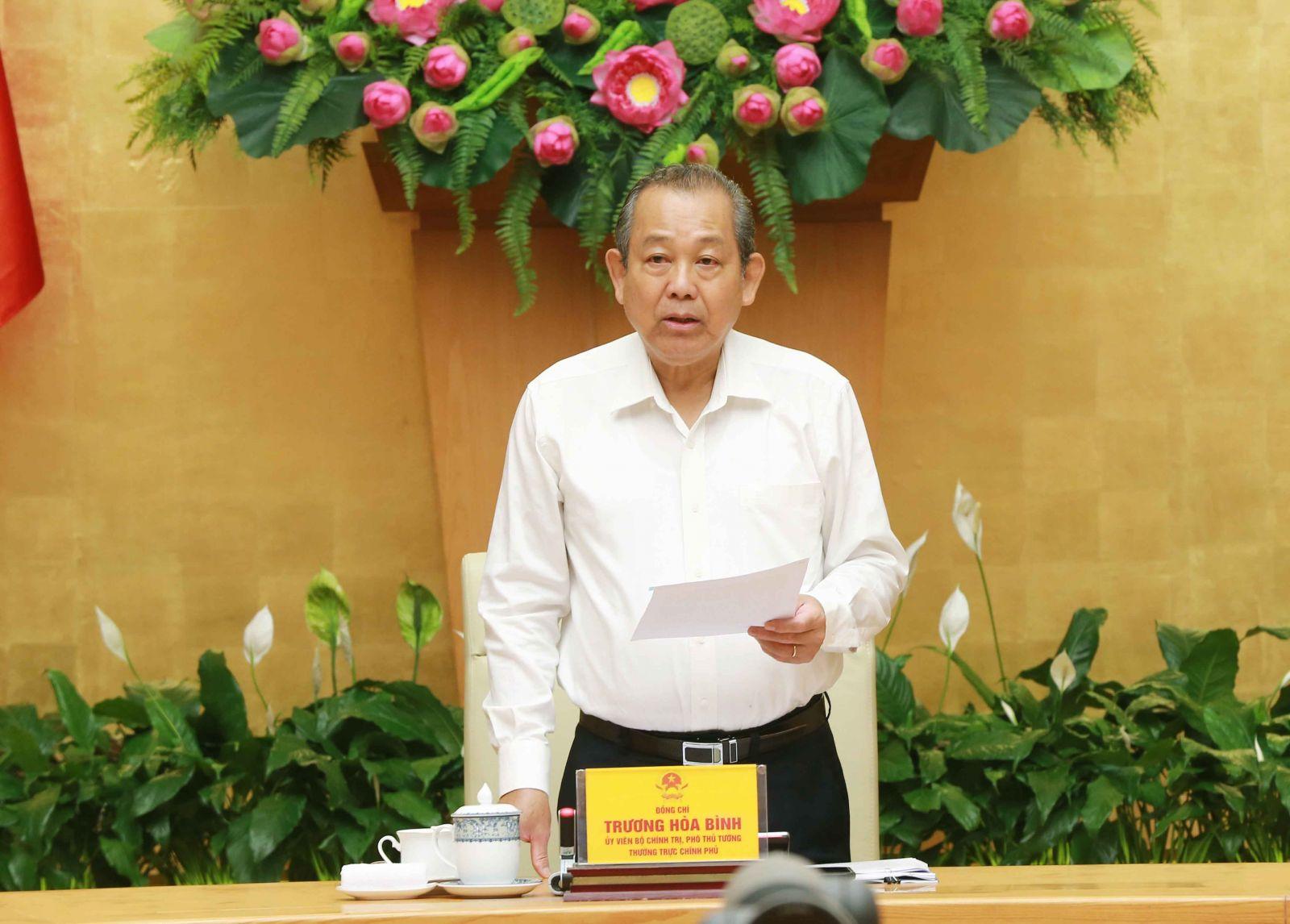 Phó thủ tướng Thường trực Chính phủ Trương Hoà Bình phát biểu tại hội nghị. Ảnh: VGP/Lê Sơn