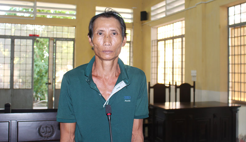 Bị cáo Lê Văn Xiếu tại phiên tòa hình sự sơ thẩm ngày 22-5-2019.