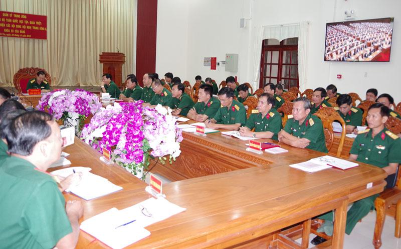 Đảng ủy Quân sự tỉnh duy trì nghiêm chế độ học tập nghị quyết các cấp. Ảnh: Đặng Thạch