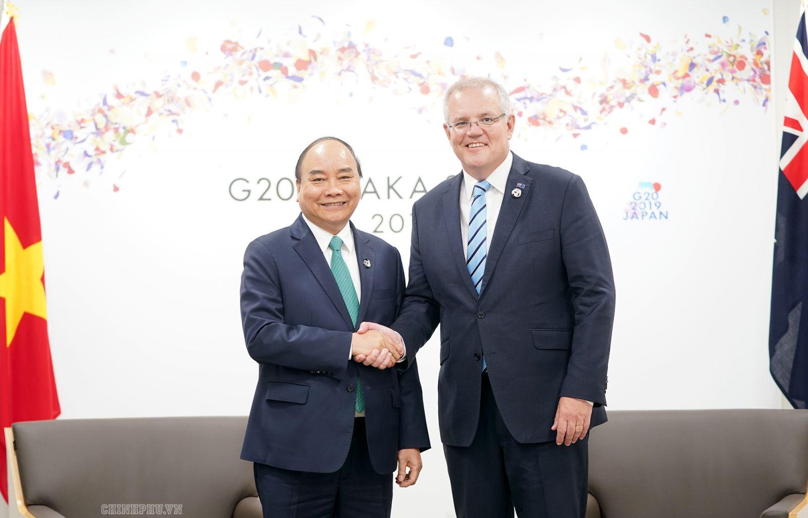 Thủ tướng Nguyễn Xuân Phúc và Thủ tướng Australia Scott Morrison. Ảnh VGP/Quang Hiếu