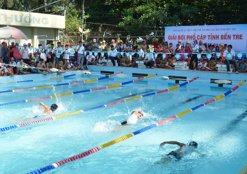 Các em đang thi đấu tại Giải bơi phổ cập 2019