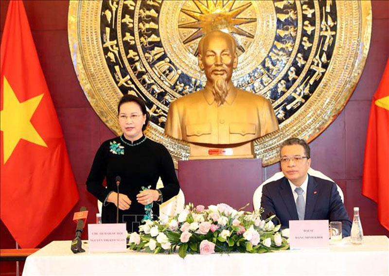 Chủ tịch Quốc hội Nguyễn Thị Kim Ngân phát biểu. Ảnh: Trọng Đức/TTXVN