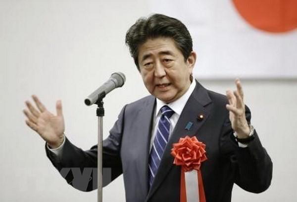 Thủ tướng Shinzo Abe phát biểu tại cuộc họp của LDP ở Yamaguchi. (Ảnh: Kyodo/TTXVN)