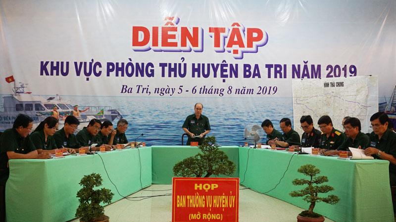 Ban Thường vụ Huyện ủy Ba Tri họp mở rộng thống nhất một số nội dung theo kịch bản diễn tập