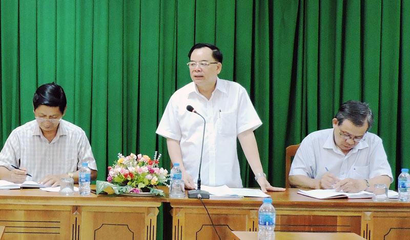 Phó bí thư Thường trực Tỉnh ủy phát biểu chỉ đạo tại buổi làm việc.