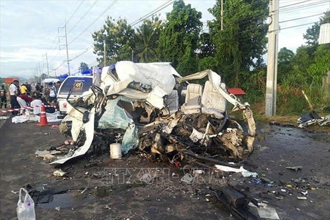 Hiện trường vụ tai nạn tại tỉnh Sa Kaeo, Thái Lan ngày 18-8-2019. Ảnh: Bangkok Post/TTXVN