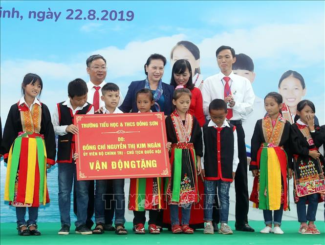 Trường Tiểu học và THCS Đồng Sơn do Chủ tịch Quốc hội Nguyễn Thị Kim Ngân vận động các đơn vị tổ chức đóng góp xây dựng. Ảnh: Trọng Đức/TTXVN