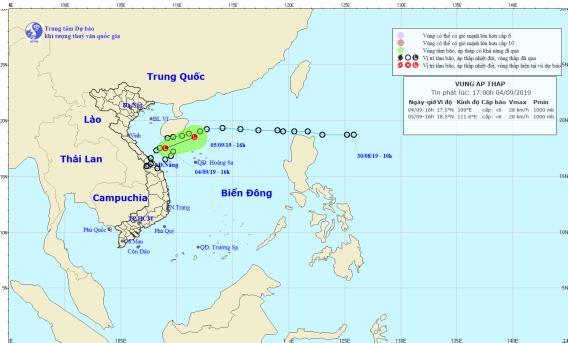 Đường đi và vị trí áp thấp nhiệt đới.