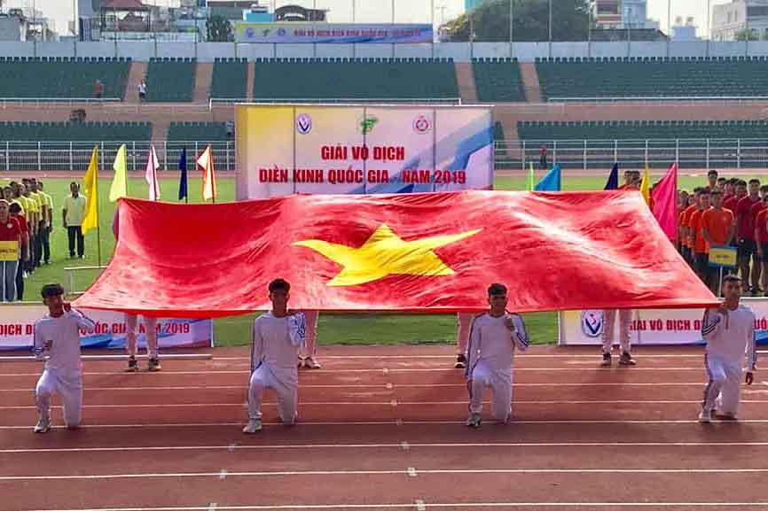 Lễ khai mạc Giải điền kinh Vô địch quốc gia 2019 trên sân vận động Thống Nhất