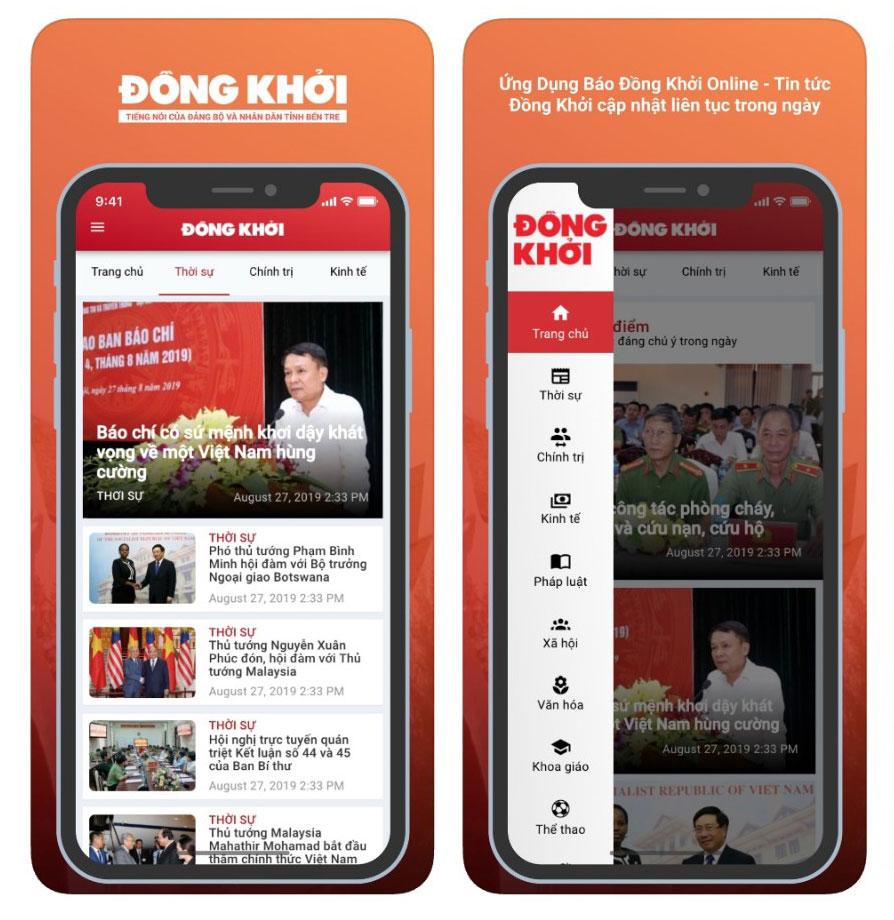 Hình ảnh giao diện của Báo Đồng Khởi trên điện thoại.