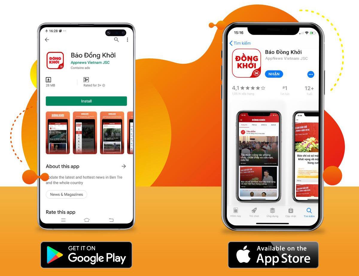 Ứng dụng Báo Đồng Khởi trên Google Play và App Store.