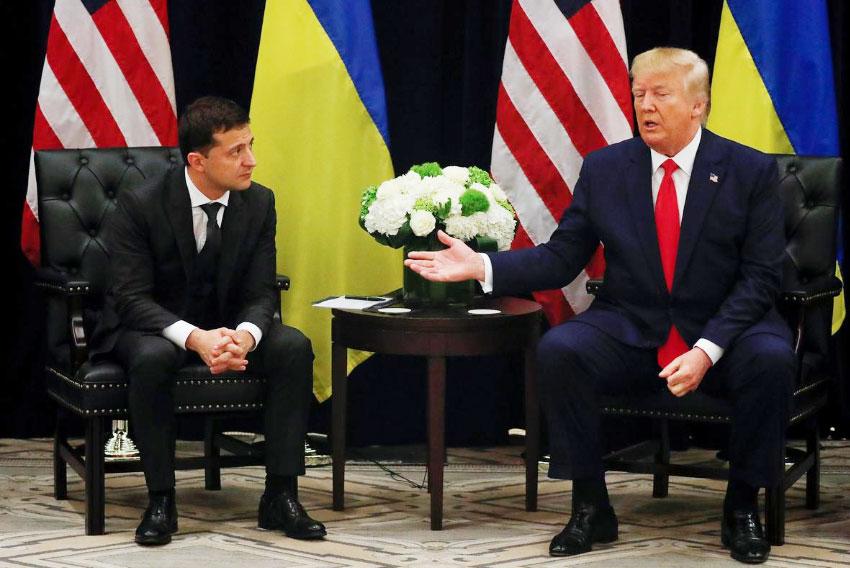 Tổng thống Trump và Tổng thống Ukraine Ukraine Volodymyr Zelenskiy gặp gỡ song phương bên lề phiên họp thứ 74 của Đại hội đồng Liên hợp quốc (UNGA) tại New York, Mỹ. Ảnh: Reuters