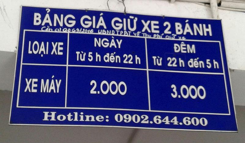 Bảng giá giữ xe tại Bệnh viện Nguyễn Đình Chiểu.