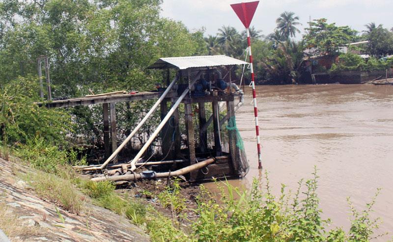 Trạm bơm nước của Công ty TNHH Cấp thoát nước Mỏ Cày nơi xảy ra vụ điện giật.